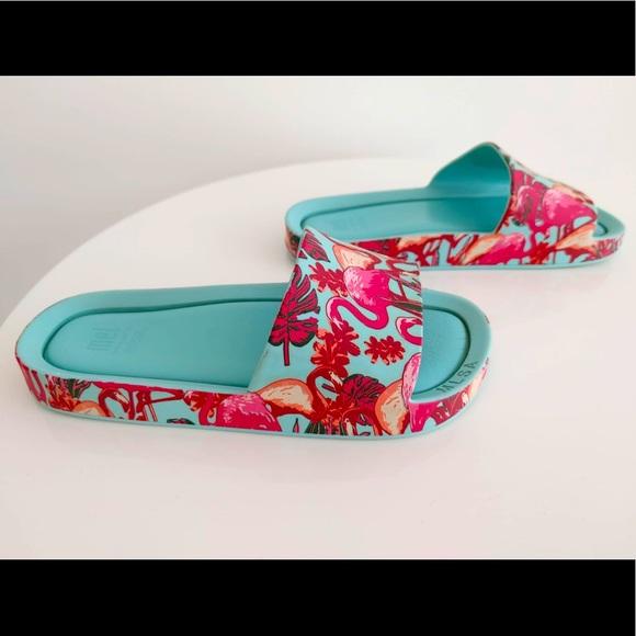 Mini Melissa Mel Beach Slide Flamingo Sandals Kids